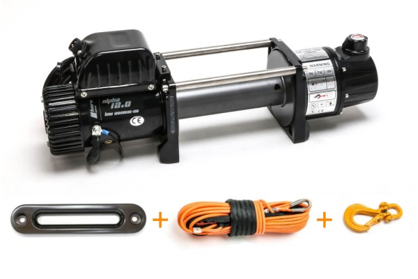 Cable winch 5.4to AlphaG 12.0 2 gear with gear brake 12 volt electric winch, with winch cable