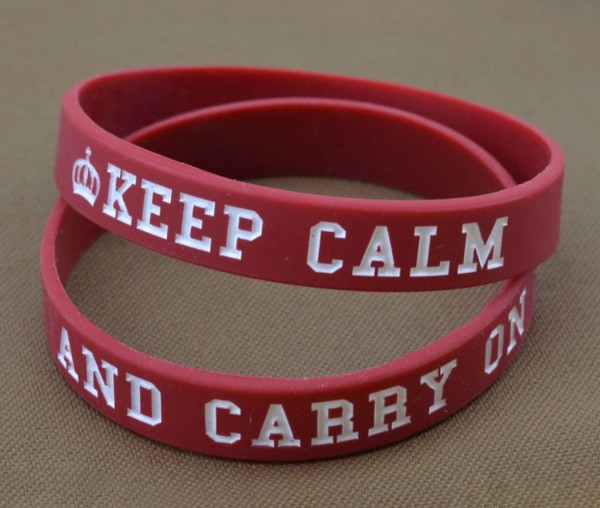 Armband / Rubber Bracelet - KEEP CALM AND CARRY ON, Rot