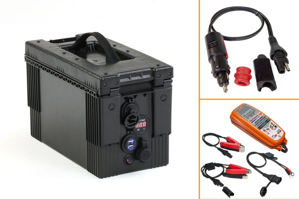 Battery box with various connections, including charger TM500 and adapter