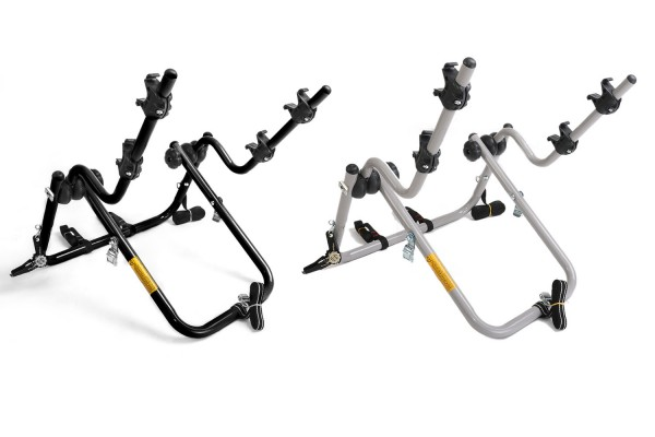 Bicycle carrier with suspension frame and straps to buckle on the spare tire
