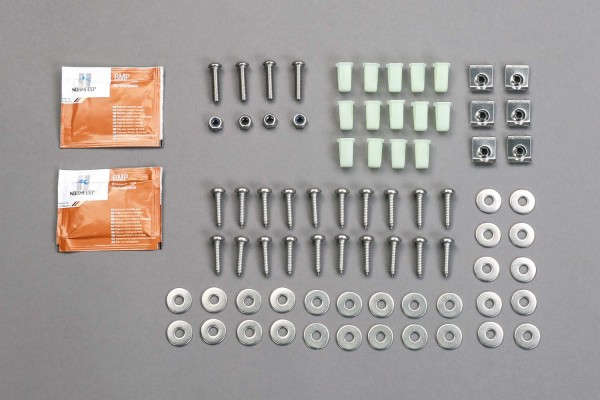 Stainless steel fastening set for floor panels in the front footwell, for Land Rover Defender