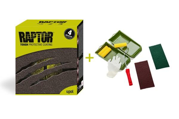 Nakatanenga Roll-On-Set mit U-Pol RAPTOR 4 Bottle Kit - Farbe: RAL 9011 Schwarz