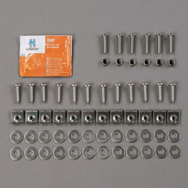 Stainless steel mounting kit for floor panels in footwell 2nd row of seats, for Land Rover Defender and Series