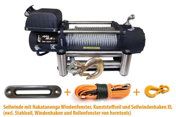 Cable winch Horntools Alpha 12.0 with 5.4 tons traction, 12 volt electric winch, with winch cable