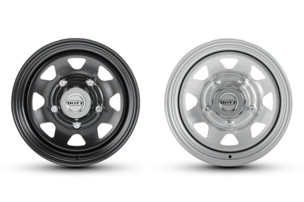 "Dotz Dakar 7x16 ""ET0 and 6x15"" suitable for Defender, Mercedes G and Jimny II GJ"
