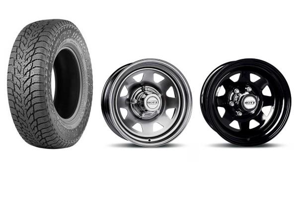"Complete wheel set Nokian Hakkapeliitta LT3 235 / 85R16 on Dotz Dakar Dark 7x16 """