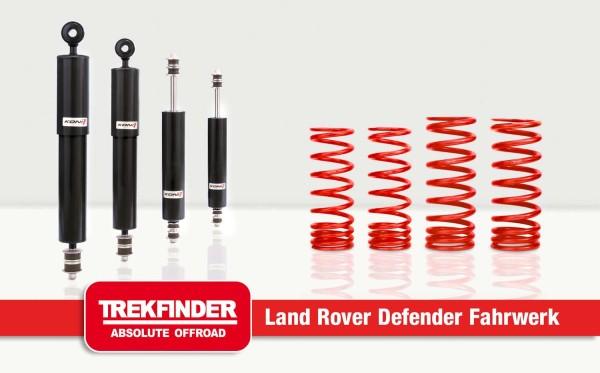 Höherlegungsfahrwerk für LAND ROVER Defender 110 mit RAID Dämpfern von TREKFINDER ca. + 40 Millimete