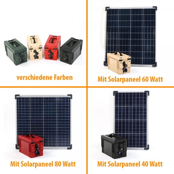 Battery box with solar panel