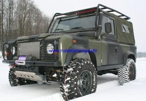 Sidebars / Rocksliders 90, Alu pulverbeschichtet inkl. Riffeltritte f. Einstiege, Land Rover Defende