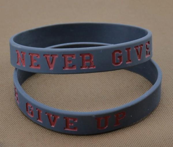 Armband / Rubber Bracelet - NEVER GIVE UP, Grau