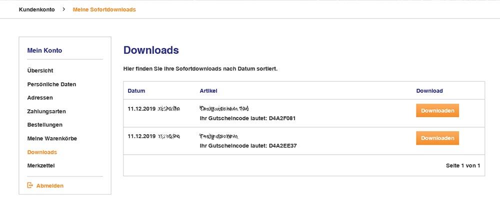 Kundenkonto Downloads
