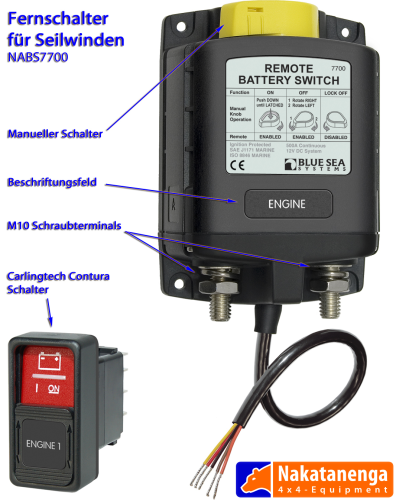 Remote switch with relay for winches
