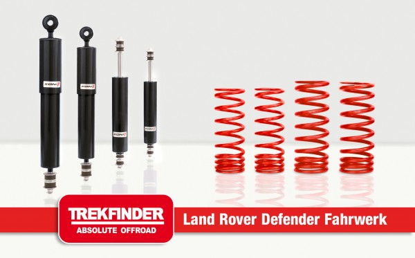 Liftkit for Defender 90 with KONI Heavy Track RAID Dampers (+40mm) - by TREKFINDER