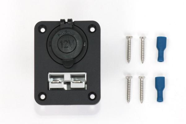 Montagepanel mit 12V Steckdose und Schnellverbinder (Anderson Style)